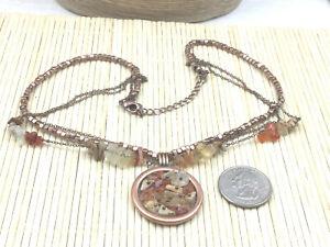 Avon Necklace Agate Gemstone Jasper Chip Copper Medallion Multi Chain Choker