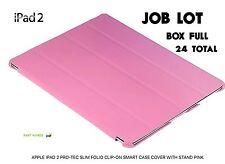JOB LOT APPLE IPAD 2 PRO-TEC SLIM FOLIO CLIP-ON SMART CASE COVER WITH STAND PINK