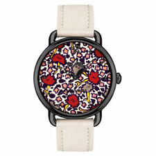 Coach Women's Delancey Ionized Plated Floral Chalk Leather Watch 14502729 $250