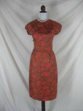 Vtg 50s 60s Red Green Silk Floral Vintage Cocktail Party Dress Bolero Set W 26
