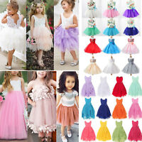Kids Baby Girls Tulle Dress Party Wedding Bridesmaid Princess Dresses Age 2-12 Y
