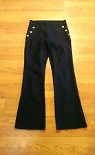 Vintage Time Square Sailor Cut Solid Black Flare High Waist Pants Size LargeB129
