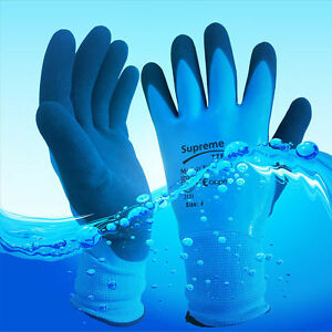 Blue Aqua Fully Latex Coated Waterproof Wet Breathable Nylon Grip Work Gloves