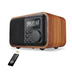 Wireless Wooden Portable Bluetooth Speaker Subwoofer with FM Radio Alarm Clock