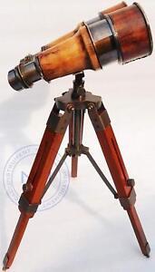 Nautical Antique Marine Vintage Working Binocular With Wooden Stand Office Decor
