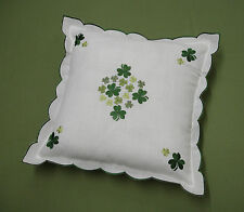 S210 Embroidered Shamrock Cushion Cover Ireland Irish Celtic Shannon 40cm 16""