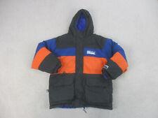 First Down Jacket Adult Medium Blue Orange Hoodie Reversible Coat Mens 90s*