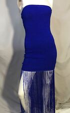 New WOW Couture Sexy Blue Form Fitting Fringe Dress