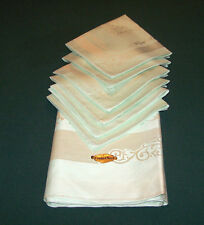 Vintage Double Damask Linen Tablecloth, 6 Napkins, Sage Green, Tag, Never Used