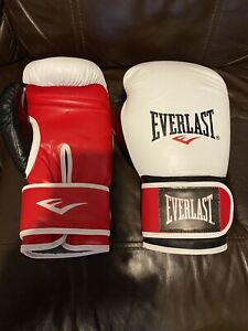 Everlast 14oz Leather Boxing Gloves White/Red