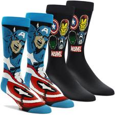 CAPTAIN AMERICA MARVEL COMICS 2 Pack Socks Superhero Hulk Iron Man Avengers