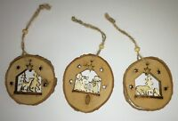 Heaven Sends Rustic Bark Festive Scene Christmas Tree Decorations Set of 3 Xmas