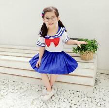 Sailor Moon Kid Child Girls Costume School Uniform Set Short Sleeve Tops + Dress