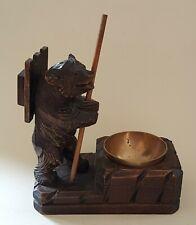 Black Forest carved oak wood bear vintage Victorian antique match box holder