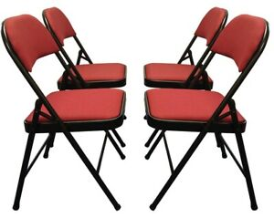 Meta Deluxe Burgundy Red Fabric Padded Folding Chair Comfortable Seat 4Piece Set