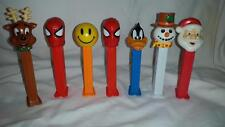 Pez Dispenser Lot Santa Reindeer Snowman Spiderman Daffy Smiley Face