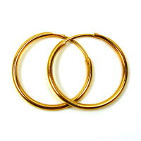 9ct gold hoop earrings 18 mm plain medium weight sleepers (1 pair)