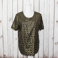 Equipment Femme Women's 100% Silk Short Sleeve Black Gold Floral Print Sz Small