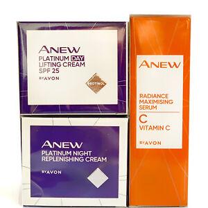 AVON ANEW PLATINUM Day Cream 50ml + Night Cream 50ml + Anew Vitamin C Serum 30ml