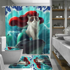 Mermaid Bathroom Shower Curtain & 3PCS Mat Set Toilet Cover Green 180*180CM *