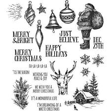 "Tim Holtz Stampers Anonymous ""HOLIDAY DRAWINGS"" Christmas Rubber Cling Stamp Set"