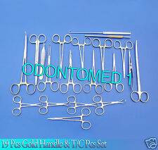 19 PCS GOLD HANDLE GENERAL CANINE SPAY PACK SURGICAL INSTRUMENTS SET KIT DS-1054