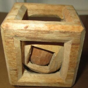 VINTAGE HAND CARVED WOODEN PUZZLE WHIMSEY TWO BALLS INSIDE OPEN SQUARE