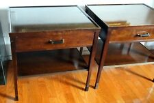 BAKER FINE PAIR WOOD NIGHTSTANDS BY BILL SOFIELD WITH SHELF & DRAWER H=29 1/8""