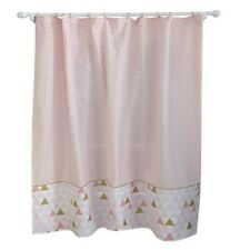 """Triangle and Dots Shower Curtain - 72"""" x 72"""" - White Pink"""