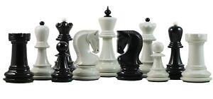 "Zagreb Series Premium 3.75"" Staunton Chessmen in Black and White Lacquered"