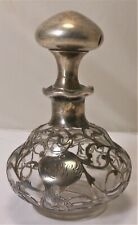 Great Victorian Sterling Silver overlay Perfume/ Cologne Bottle