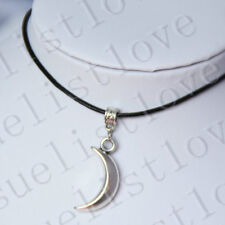 Collier délicat lune pendentif Collier Tour de cou avec cordon en cuir noir