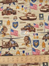 UNITED WE STAND U.S. ARMY BY ROBERT KAUFMAN COTTON FABRIC FH-3570 BY THE YARD