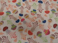 Tropical Jellyfish Digital Printed Linen Cotton Fabric Curtain Upholstery Crafts