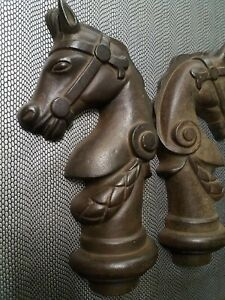Large Vintage Equine Cast Iron Horse Heads Architectural Post Top Antique USA