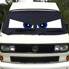 VW T25 Front Window Screen Cover Camper Van Black Out Blind Wrap Eyes Angry Blue