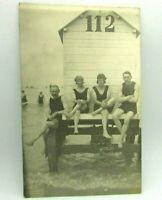 c 1910 Men Women SWIMSUIT Fashion Swim Beach Changing Cabin RPPC Photo Postcard