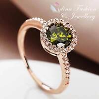 18K White & Rose Gold Plated Simulated Diamond Round Cut Exquisite Ring