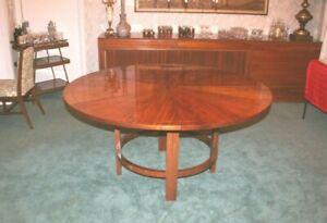 Vintage Original Mid-Century Modern Brazilian Rosewood Round Dining Table