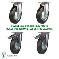 More details for 4 x heavy duty 150mm / 450kg black rubber on 2 x swivel & 2 x braked castors