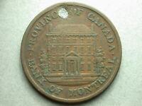 Canada Montreal 1842 Province Half Penny Token Damage