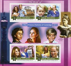 Maldives 2015 MNH Birth Princess Charlotte Royal Baby 4v M/S Prince William Kate