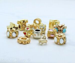 ASSORTED YELLOW GOLD PLATED EUROPEAN CHARM BEADS SUIT POPULAR BRACELETS