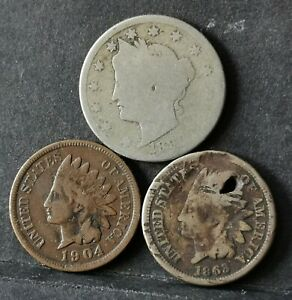 USA Lot Of 3 Coins/Indian Head Cent 1863&1904—Nickel(V Cents 1896 Fine and worn