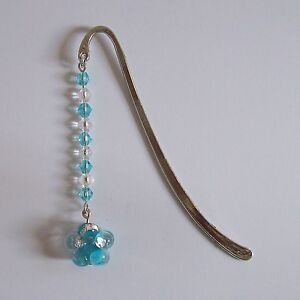 SALE 25% OFF New Blue & Silver Flower & Glass Bicone Bead Silver Plated Bookmark