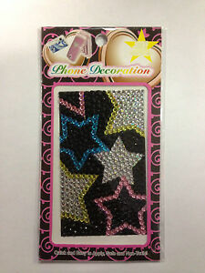 Pink, Blue, Yellow and Clear Stars Phone Decoration Sticker