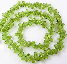 "ALL NATURAL APPLE GREEN PERIDOT TEARDROP BEADS 13"" 140 BEADS  Z41"
