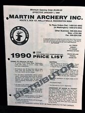 Martin Archery 1990 DISTRIBUTOR CONFIDENTIAL Price List (11 pages)