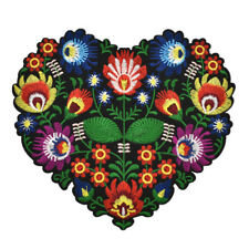 Heart Flower Embroidery Patch Badge Iron On DIY Jacket Coat Cloth Applique Craft
