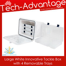 435MM x 335MM BOAT WHITE LARGE RECESSED WHITE INNOVATIVE TACKLE BOX + 4 TRAYS